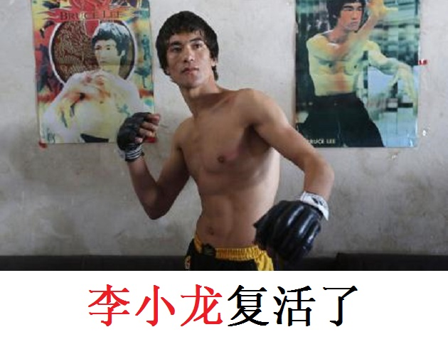 Abbas Alizada, who calls himself the Afghan Bruce Lee, poses for a picture in front of Bruce Lee posters after exercising in Kabul