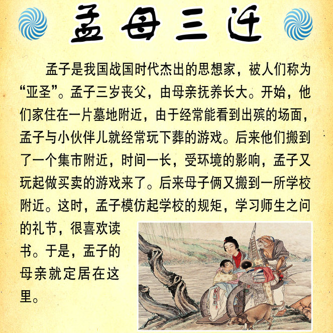 Chinese philosopher Mencius' mother relocated their residence 3 times to keep the young Mencius away from what she thought were bad influences.